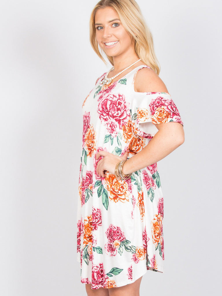 Allison Avery - Floral Open Shoulder Tunic 1 - Free Shipping Over $50