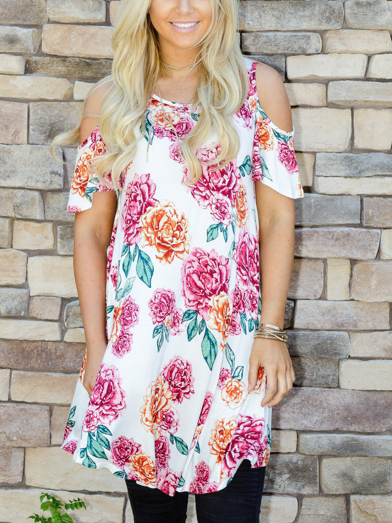 Floral Open Shoulder Tunic