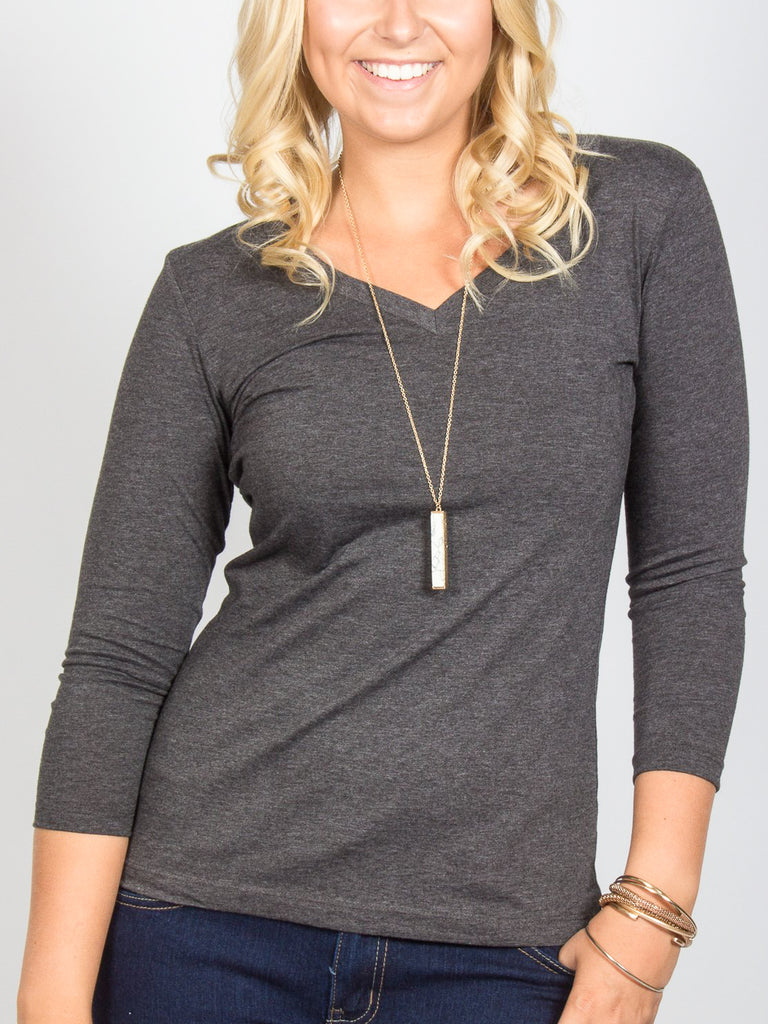 Allison Avery - 3 4 Sleeve V Neck - Free Shipping Over $50