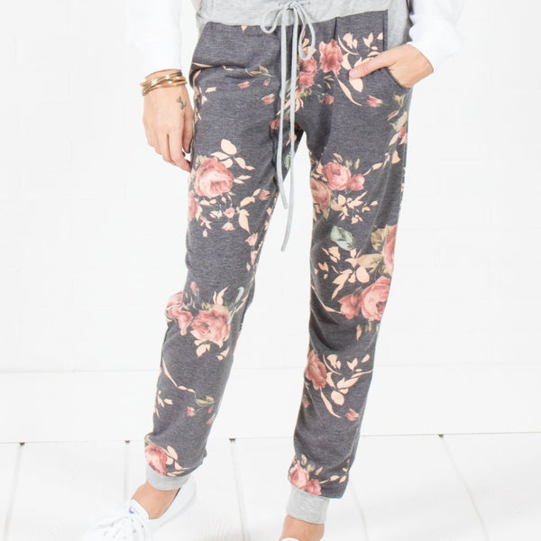 Allison Avery - Cozy Floral Joggers Navy - Free Shipping Over $50