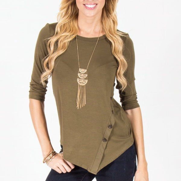Allison Avery - Asymmetrical Button Top Olive - Free Shipping Over $50