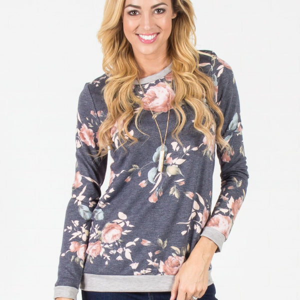 Allison Avery - Favorite Floral Pullover Charcoal - Free Shipping Over $50