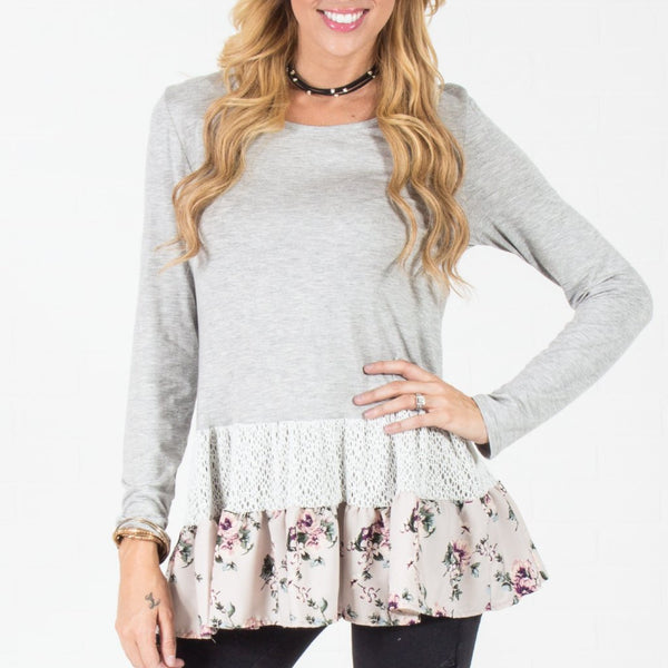 Allison Avery - Contrast Ruffle Top Grey - Free Shipping Over $50
