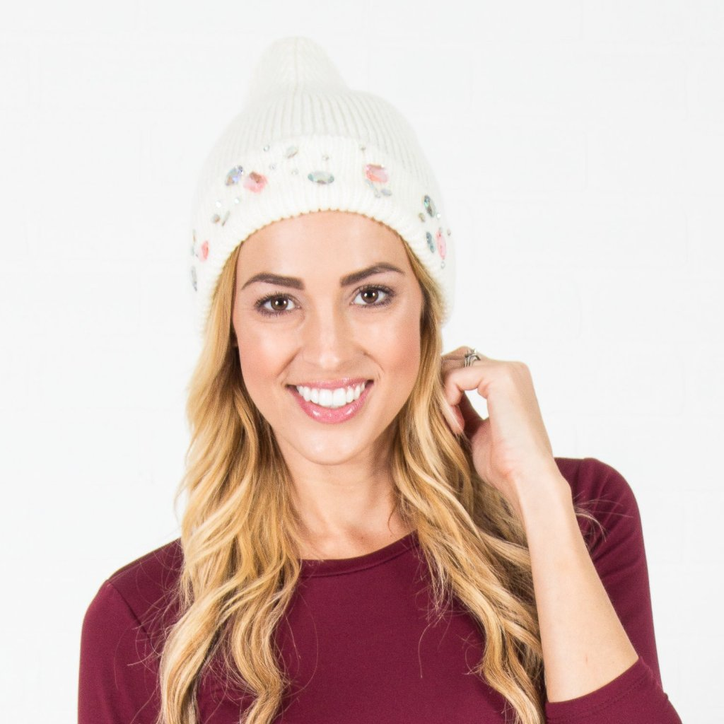 Jeweled Knit Beanie