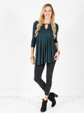 Allison Avery - Flowy Keyhole Tunic Hunter Green - Free Shipping Over $50