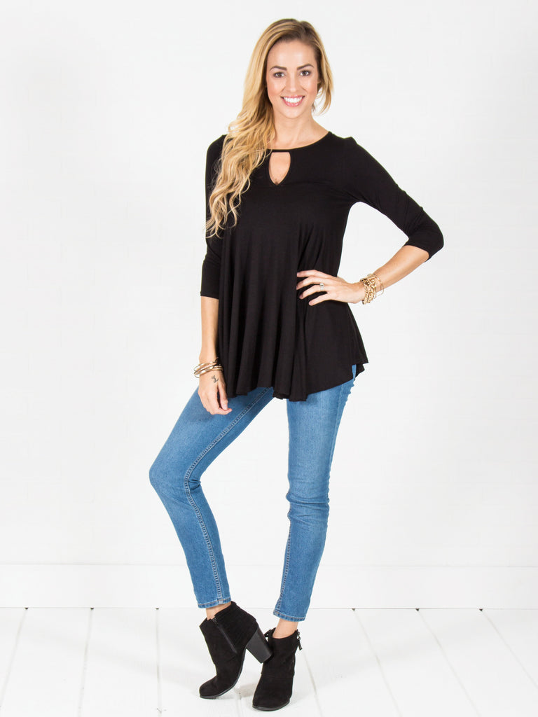 Flowy Keyhole Tunic - Hunter Green