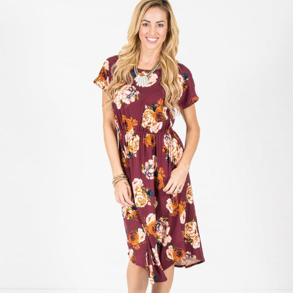 Allison Avery - Floral Cinch Waist Midi Dress Black - Free Shipping Over $50
