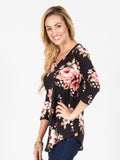 Allison Avery - 3 4 Sleeve Floral Top Black - Free Shipping Over $50