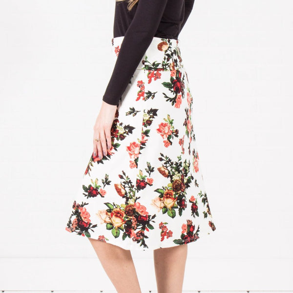 Allison Avery - Floral Midi Skirt - Free Shipping Over $50