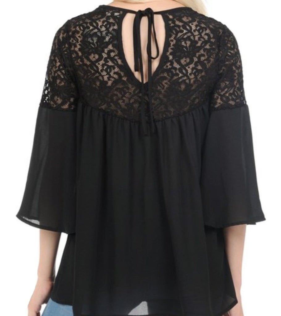 Tie Back Lace Bell Sleeve Top