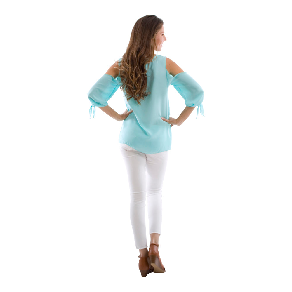Breezy Open Shoulder Tie Sleeve Top