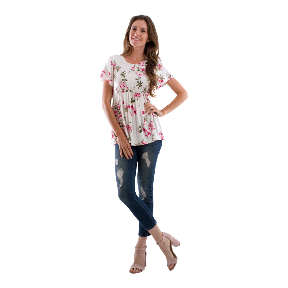 Floral Flutter Sleeve Empire Waist Top