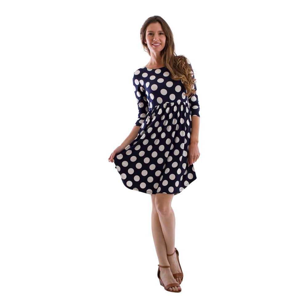 Classic Polka Dot Pocket Midi Dress