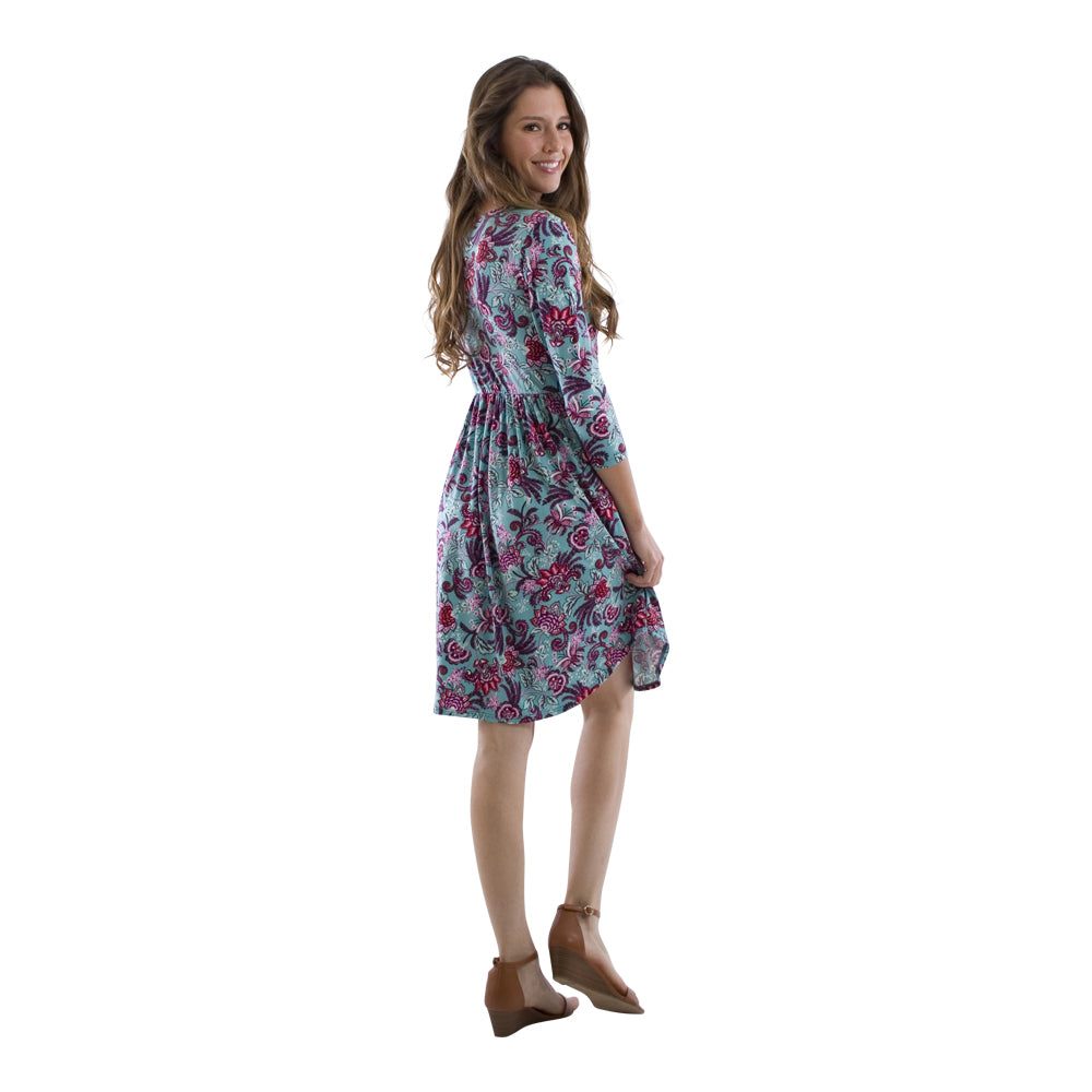Spring Floral Pocket Midi Dress