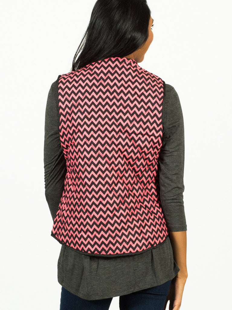 Allison Avery - Darling Chevron Padded Vest - Free Shipping Over $50