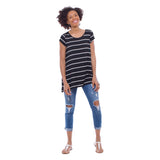 Striped Double Pocket Swing Top