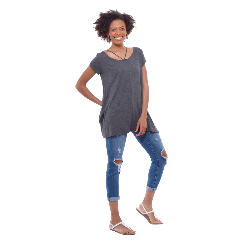 Crisscross Short Sleeve Tunic