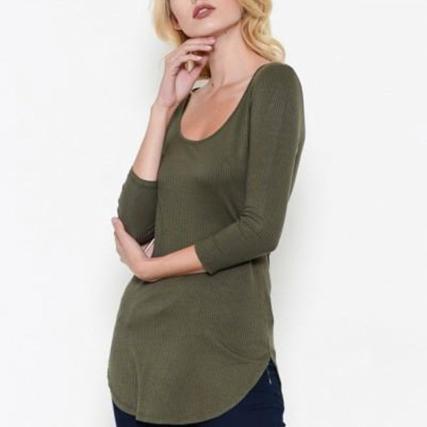 Allison Avery - 3 4 Sleeve Rounded Hem Tee - Free Shipping Over $50