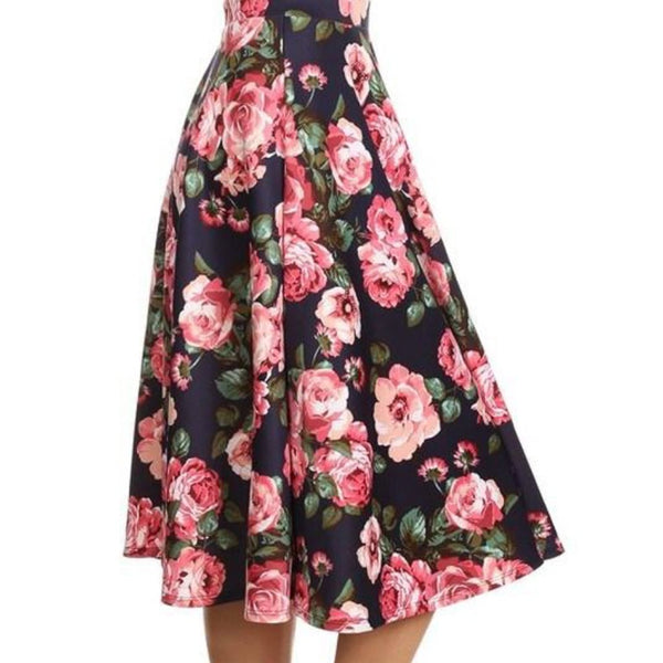 Allison Avery - Floral Printed Midi Skirt - Free Shipping Over $50