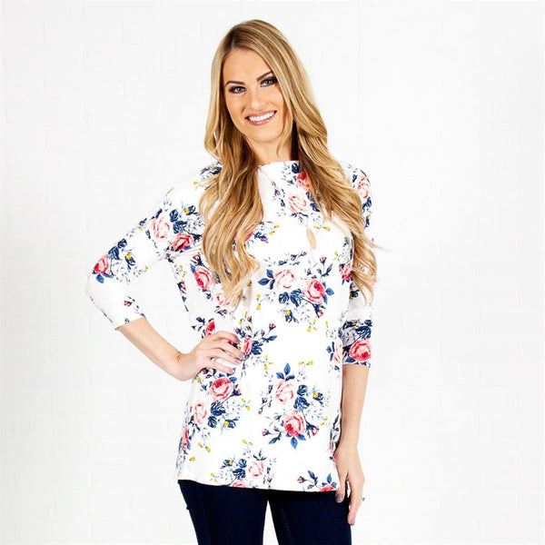 Allison Avery - Floral Crossback Top Ivory - Free Shipping Over $50