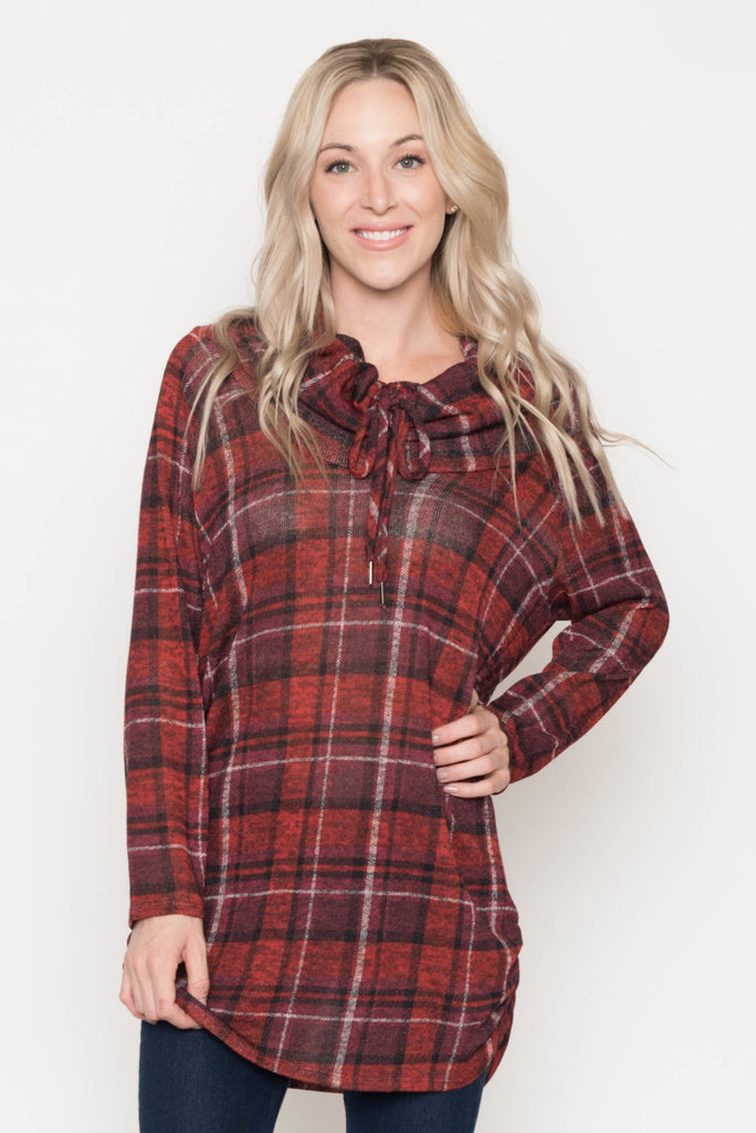 Allison Avery - Plaid Drawstring Tunic - Free Shipping Over $50