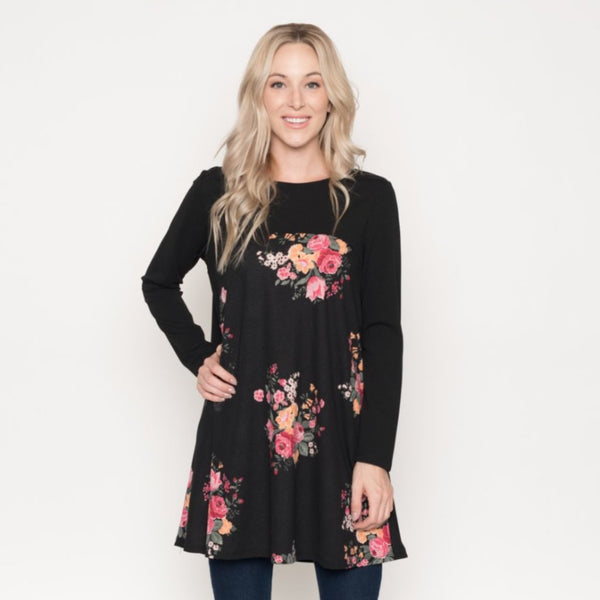 Allison Avery - Floral Blocked Tunic - Free Shipping Over $50