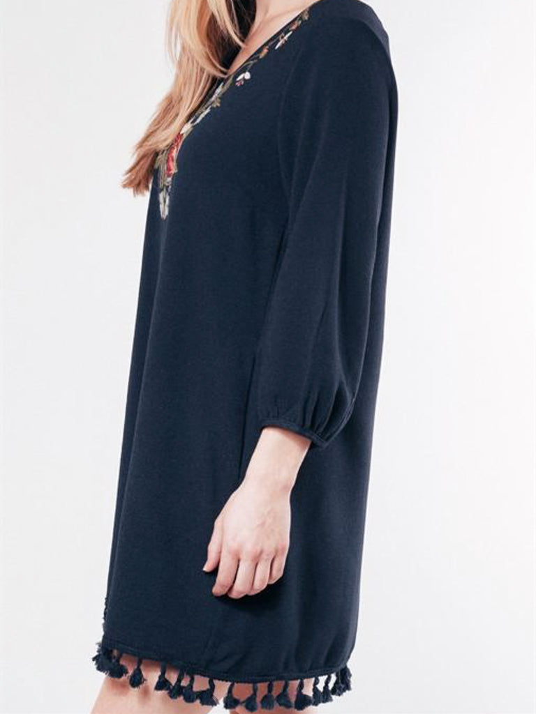 Allison Avery - Embroidered Tassel Tunic W Pockets - Free Shipping Over $50