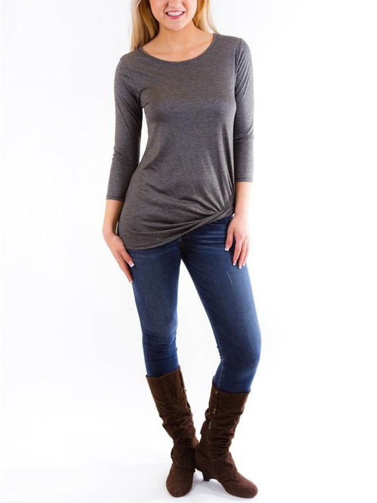 Allison Avery - 3 4 Sleeve Knot Tee - Free Shipping Over $50