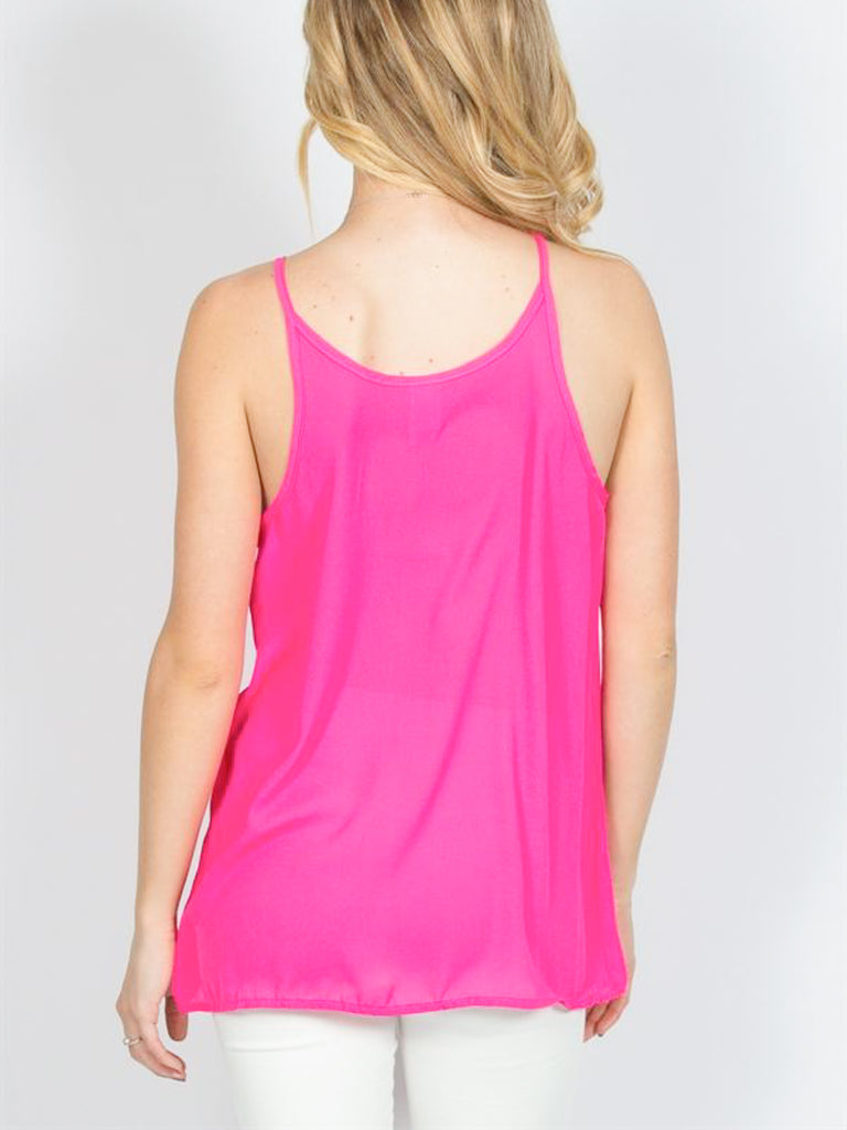 Allison Avery - Pleated Chiffon Cami - Free Shipping Over $50