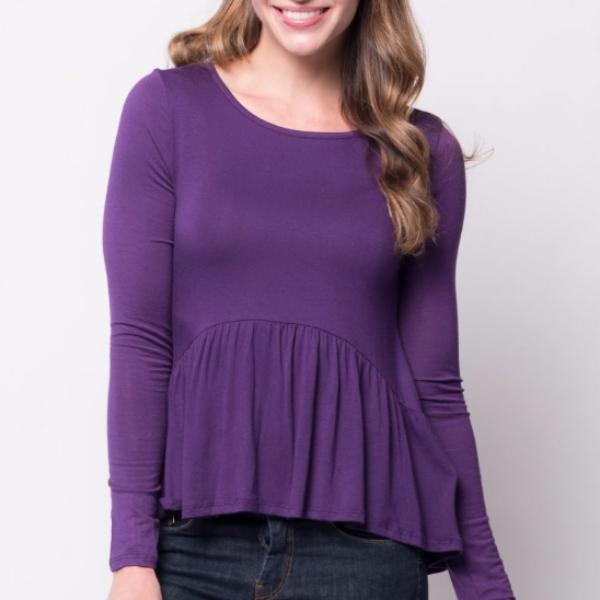 Allison Avery - Long Sleeve Peplum Top - Free Shipping Over $50