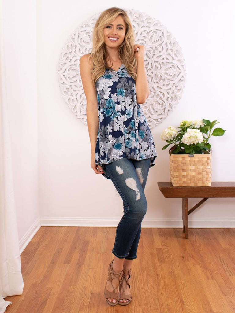 Sleeveless Floral Hi Lo Top