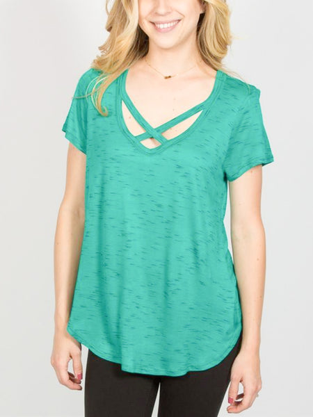 Allison Avery - Crossfront Speckled Tee - Free Shipping Over $50