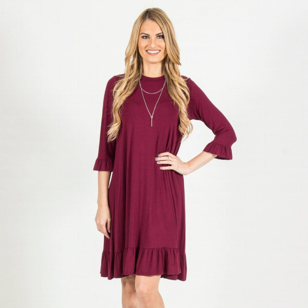 Allison Avery - Ruffled Midi Dress - Free Shipping Over $50