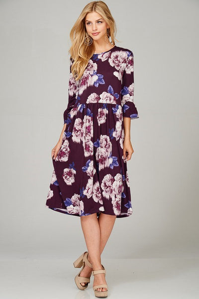 Floral Bell Dress w Pockets