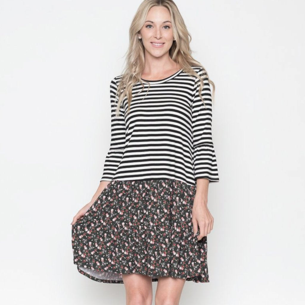 Allison Avery - Floral And Stripe Midi Dress - Free Shipping Over $50
