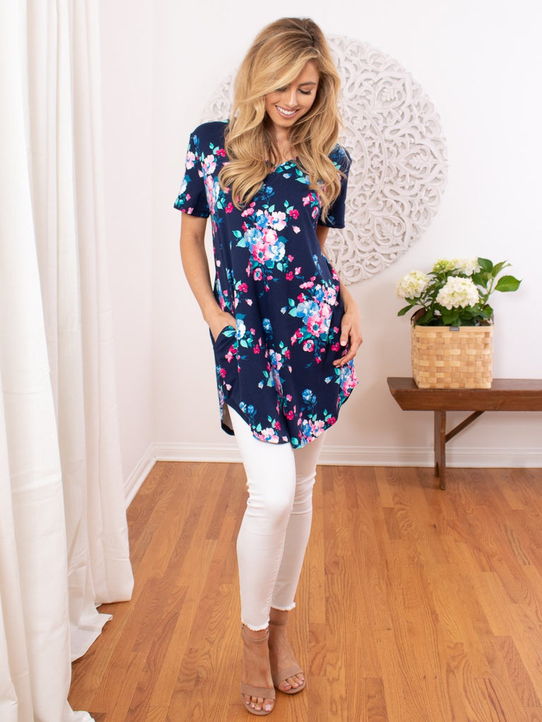 Lux V-Neck Floral Tunic