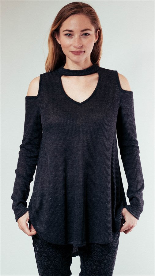 Open Shoulder Keyhole Top