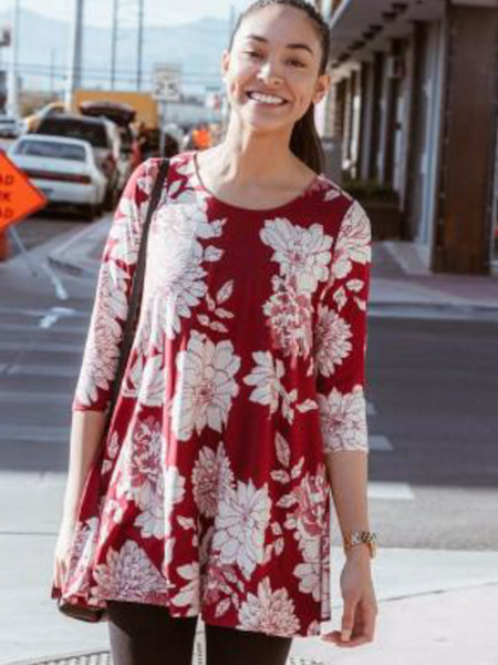 Allison Avery - 3 4 Sleeve Floral Tunics - Free Shipping Over $50