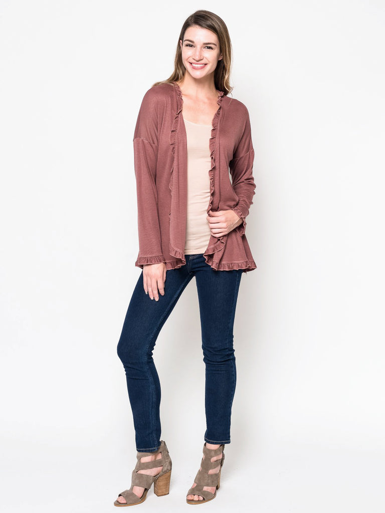Allison Avery - Ruffle Trim Cardigan - Free Shipping Over $50