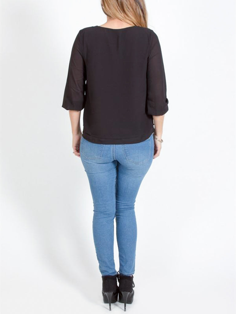 Allison Avery - Keyhole Double Layered Blouse - Free Shipping Over $50