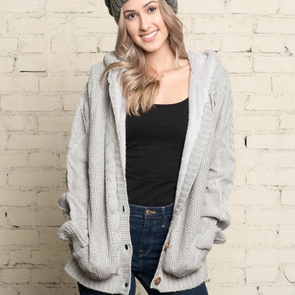 Allison Avery - Cable Knit Fur Lined Hoodie Sw26117 - Free Shipping Over $50