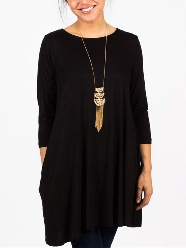 3/4 Sleeve Tunic with Pockets - Free Shipping Over $50 | AllisonAvery.com - 1