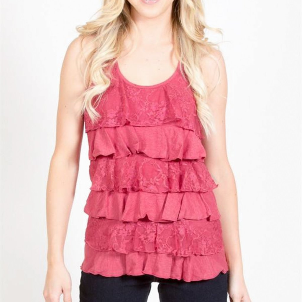 Allison Avery - Lace Ruffle Front Tank Top - Free Shipping Over $50