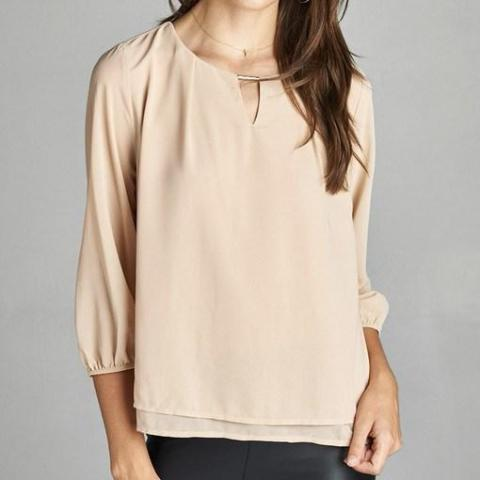 Keyhole Double Layered Blouse