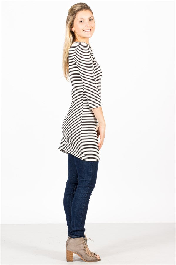 Striped 3/4 Sleeve Tunic