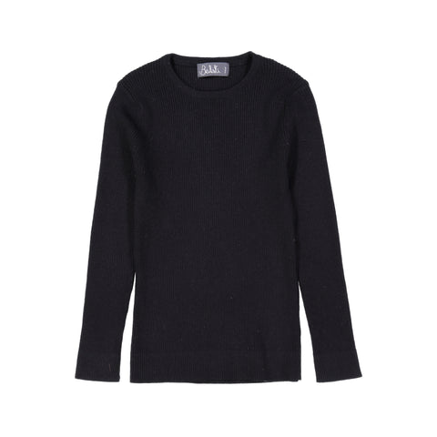Belati Black Ultra Thin Rib Knit Sweater