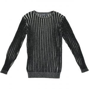 Belati Black Long Sleeve Tonal Ribbed Top