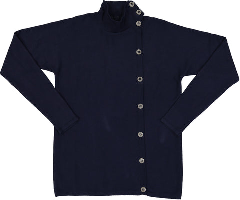 Coco Blanc Navy Side Button Sweater