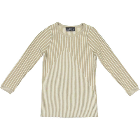 Belati Oatmeal Long Sleeve Mountain Detail Top
