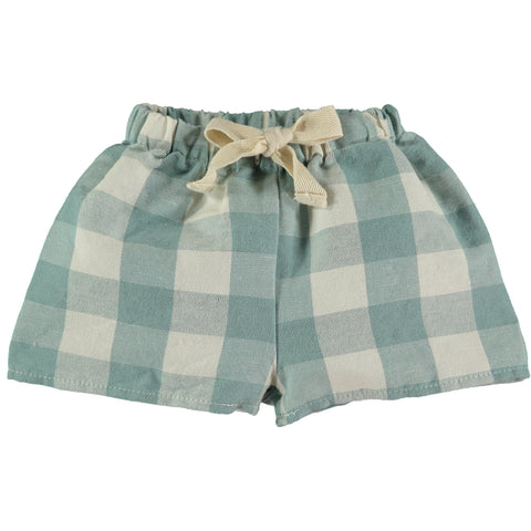 The New Society Turquoise Vichy Baby Shorts
